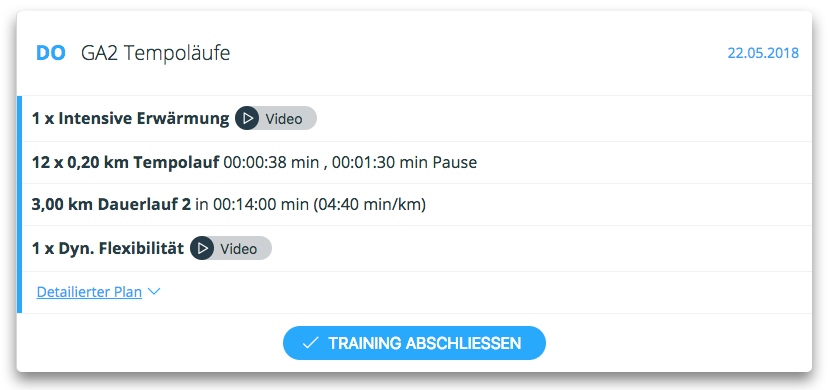 Trainingsplan Lauftraining